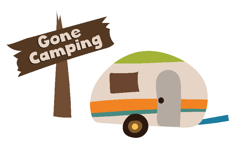 Gone Camping sign and vintage fifth wheel camper